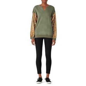 JET John Eshaya Army Sequin Sleeve Sweatshirt M/L